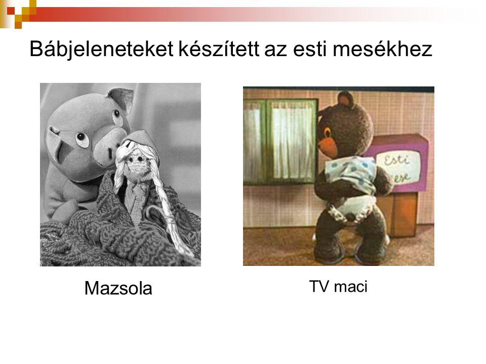 Bábjeleneteket készített az esti mesékhez TV maci Mazsola