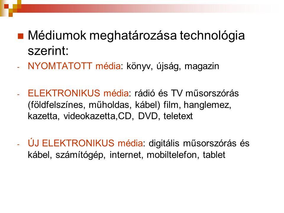 Médiumok meghatározása technológia szerint: - NYOMTATOTT média: könyv, újság, magazin - ELEKTRONIKUS média: rádió és TV műsorszórás (földfelszínes, műholdas, kábel) film, hanglemez, kazetta, videokazetta,CD, DVD, teletext - ÚJ ELEKTRONIKUS média: digitális műsorszórás és kábel, számítógép, internet, mobiltelefon, tablet