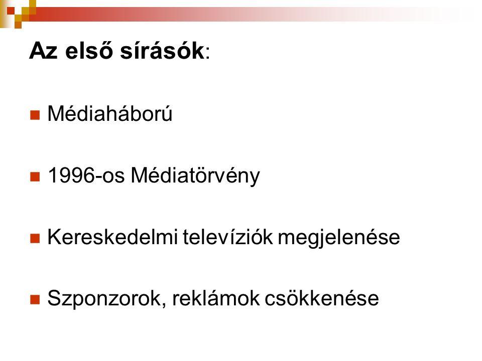 Az első sírásók : Médiaháború 1996-os Médiatörvény Kereskedelmi televíziók megjelenése Szponzorok, reklámok csökkenése