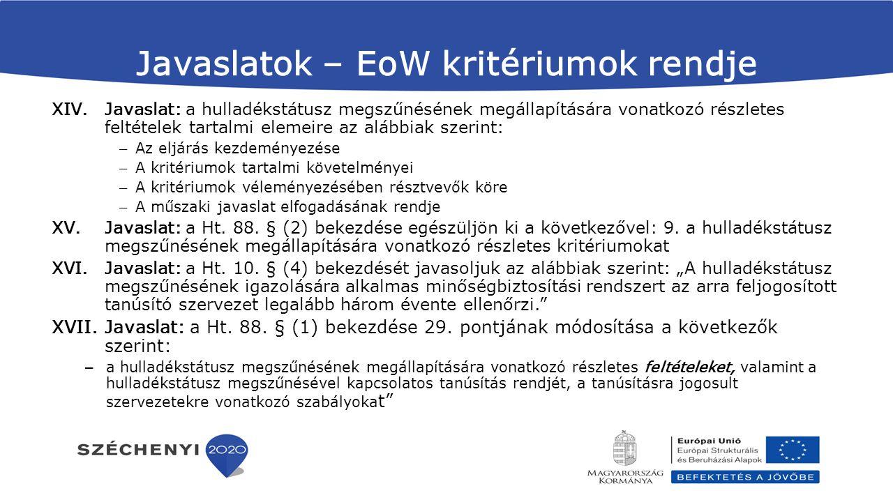 Javaslatok – EoW kritériumok rendje XIV.Javaslat: a hulladékstátusz megszűnésének megállapítására vonatkozó részletes feltételek tartalmi elemeire az