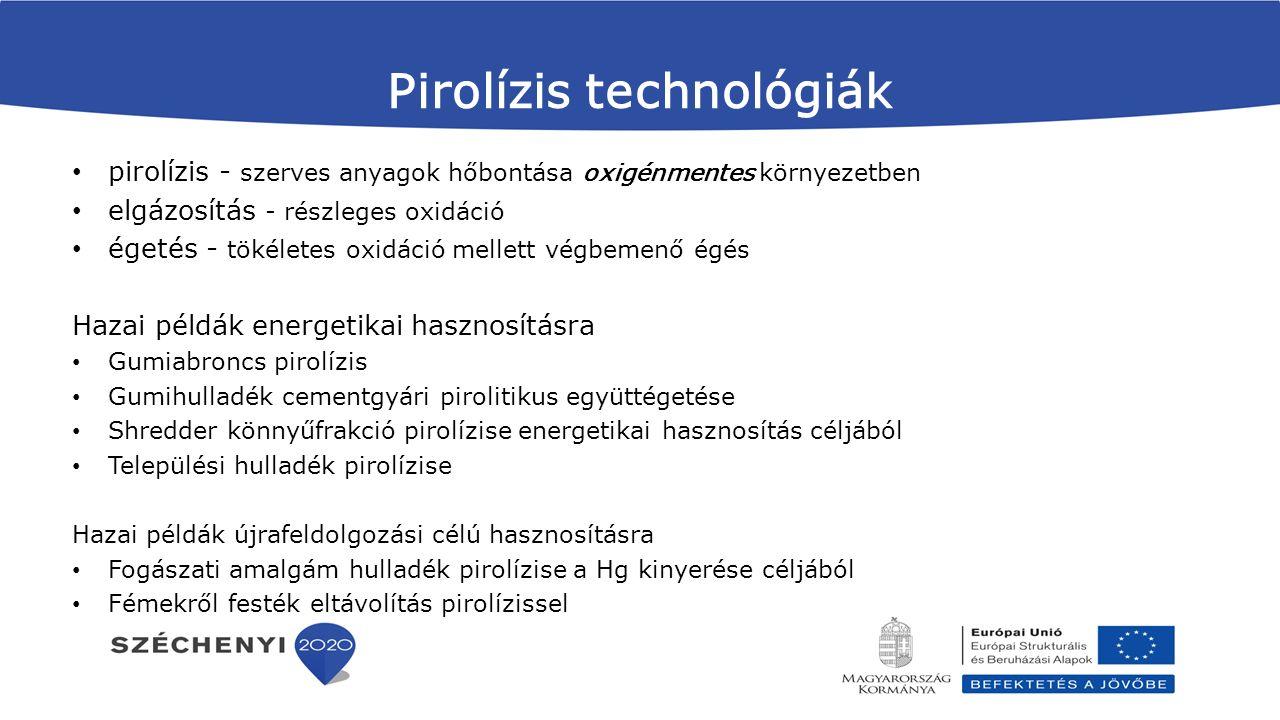 Pirolízis technológiák pirolízis - szerves anyagok hőbontása oxigénmentes környezetben elgázosítás - részleges oxidáció égetés - tökéletes oxidáció me