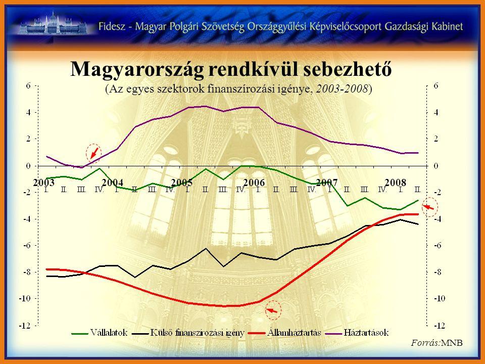 Magyarország rendkívül sebezhető Forrás:MNB 200320042005200620072008 (Az egyes szektorok finanszírozási igénye, 2003-2008)