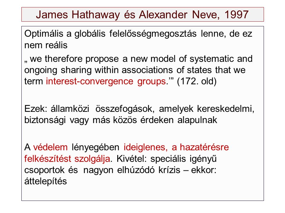 "James Hathaway és Alexander Neve, 1997 Optimális a globális felelősségmegosztás lenne, de ez nem reális "" we therefore propose a new model of systematic and ongoing sharing within associations of states that we term interest-convergence groups.' (172."