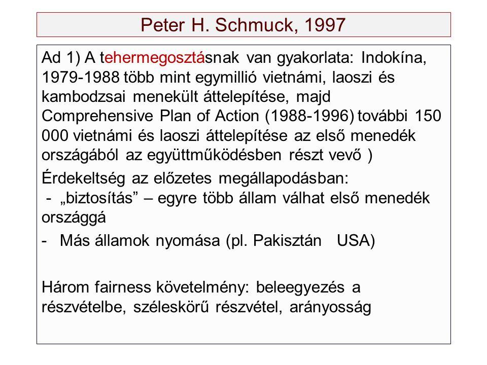 Peter H. Schmuck, 1997 Ad 1) A tehermegosztásnak van gyakorlata: Indokína, 1979-1988 több mint egymillió vietnámi, laoszi és kambodzsai menekült áttel