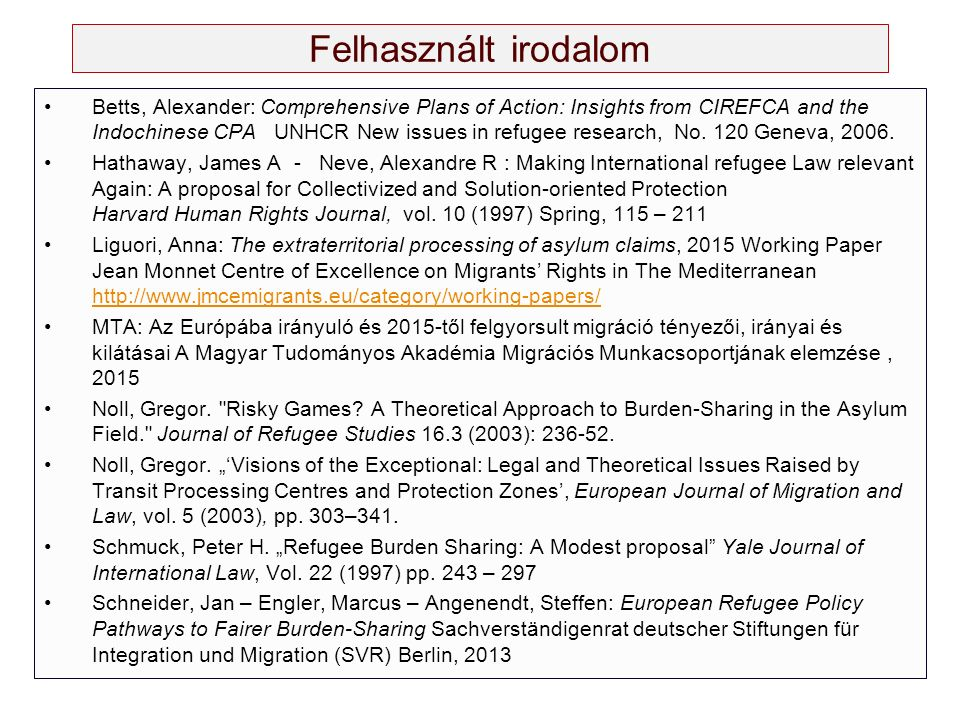 Felhasznált irodalom Betts, Alexander: Comprehensive Plans of Action: Insights from CIREFCA and the Indochinese CPA UNHCR New issues in refugee resear