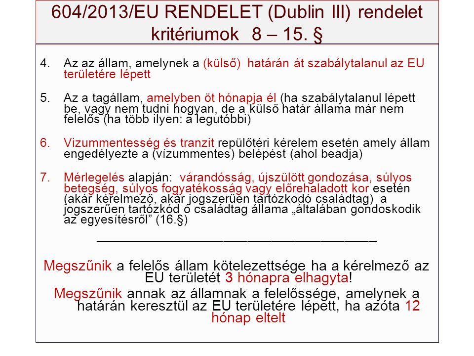 604/2013/EU RENDELET (Dublin III) rendelet kritériumok 8 – 15. § 4.Az az állam, amelynek a (külső) határán át szabálytalanul az EU területére lépett 5