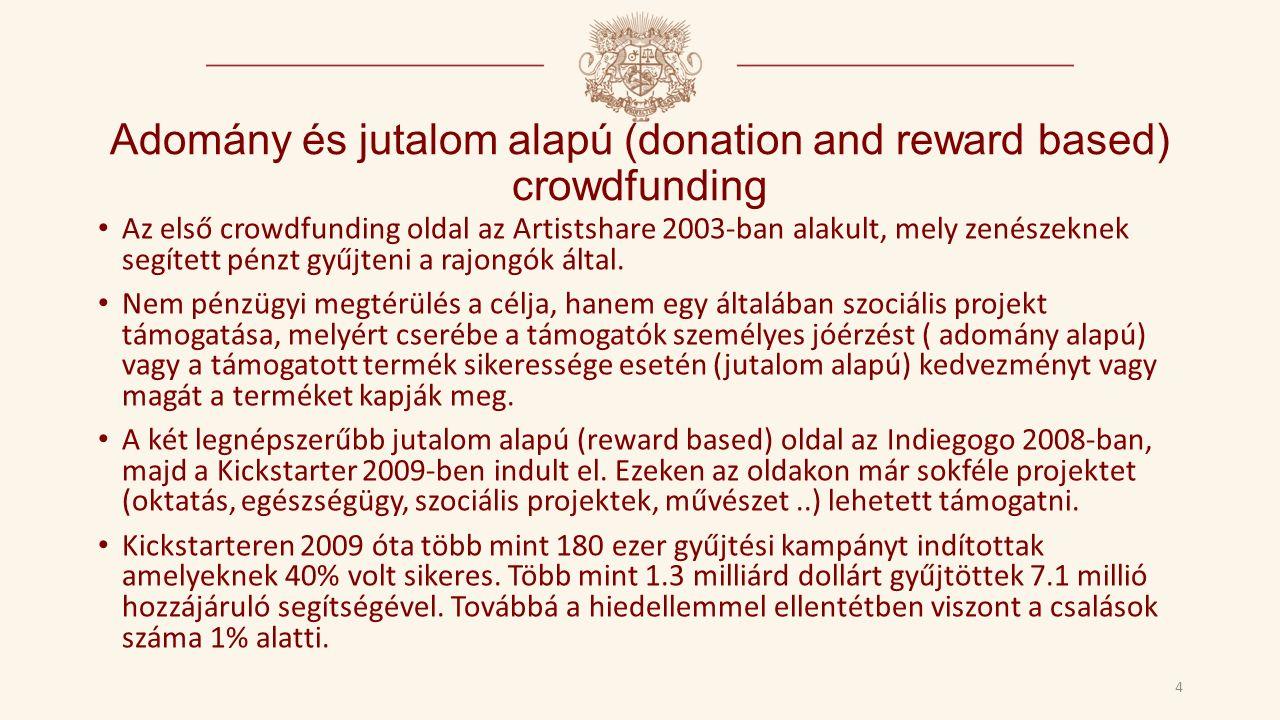 Adomány és jutalom alapú (donation and reward based) crowdfunding 4 Az első crowdfunding oldal az Artistshare 2003-ban alakult, mely zenészeknek segített pénzt gyűjteni a rajongók által.
