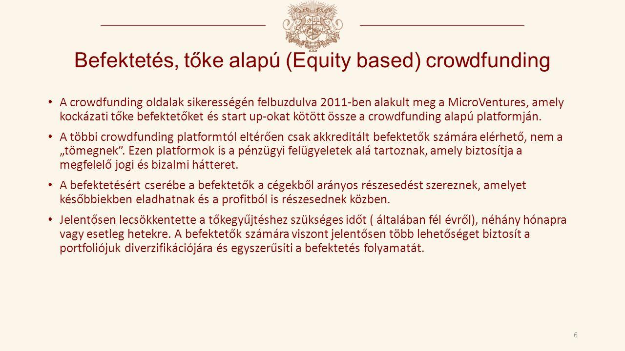 Befektetés, tőke alapú (Equity based) crowdfunding A crowdfunding oldalak sikerességén felbuzdulva 2011-ben alakult meg a MicroVentures, amely kockázati tőke befektetőket és start up-okat kötött össze a crowdfunding alapú platformján.