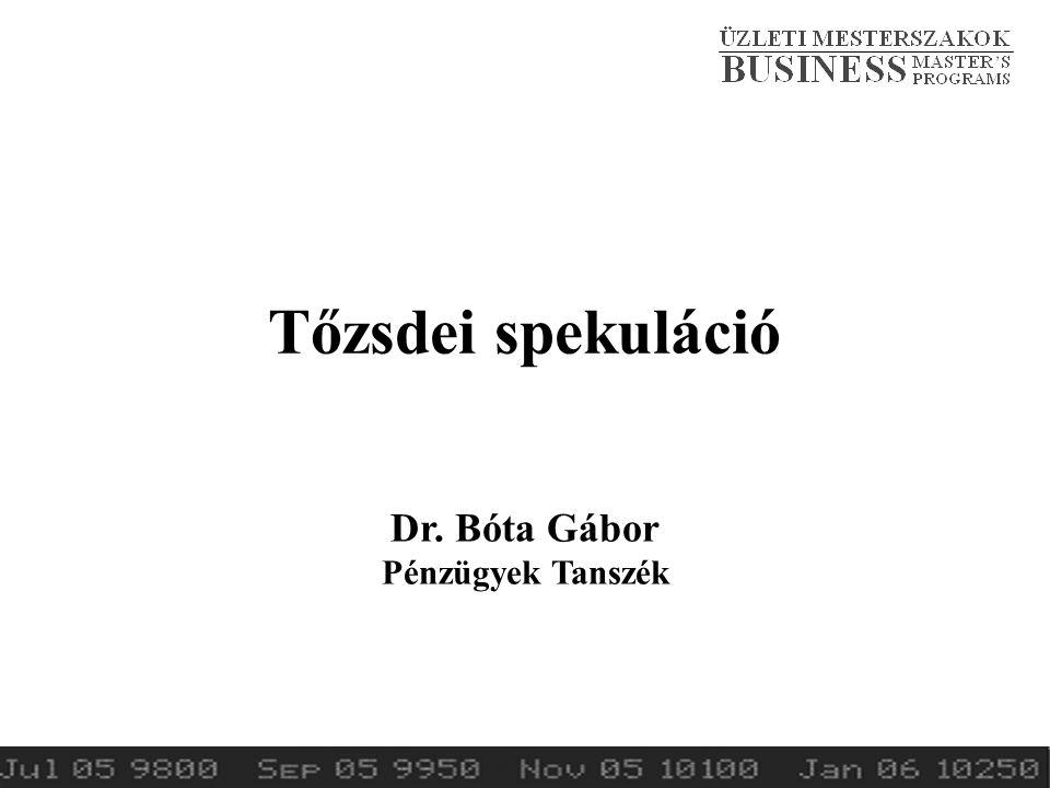 Tőzsdei spekuláció Dr. Bóta Gábor Pénzügyek Tanszék