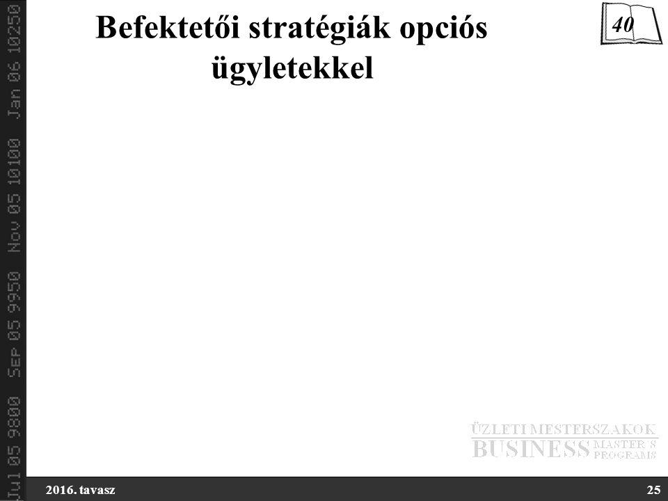 2016. tavasz25 Befektetői stratégiák opciós ügyletekkel 40