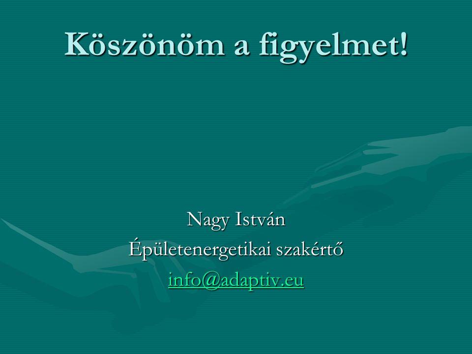 Köszönöm a figyelmet! Nagy István Épületenergetikai szakértő info@adaptiv.eu