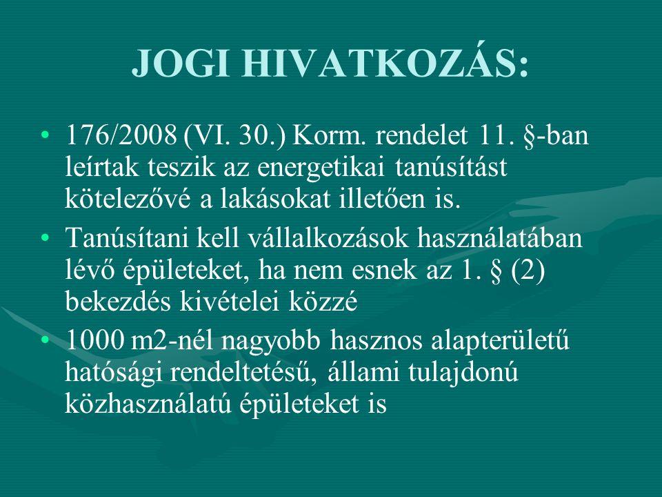 JOGI HIVATKOZÁS: 176/2008 (VI.30.) Korm. rendelet 11.