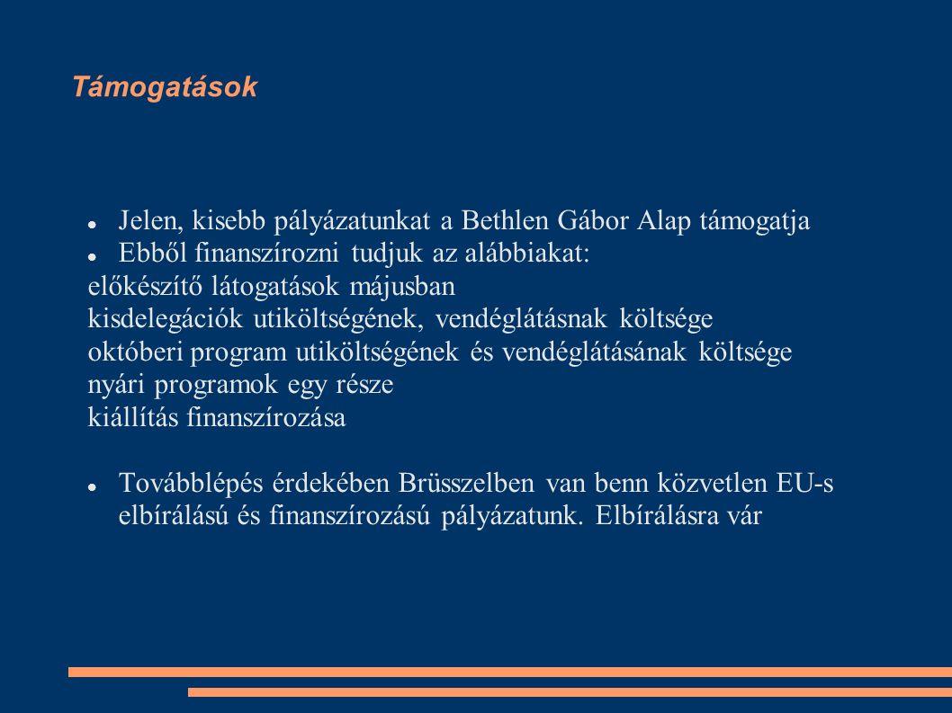 Támogatások Jelen, kisebb pályázatunkat a Bethlen Gábor Alap támogatja Ebből finanszírozni tudjuk az alábbiakat: előkészítő látogatások májusban kisdelegációk utiköltségének, vendéglátásnak költsége októberi program utiköltségének és vendéglátásának költsége nyári programok egy része kiállítás finanszírozása Továbblépés érdekében Brüsszelben van benn közvetlen EU-s elbírálású és finanszírozású pályázatunk.