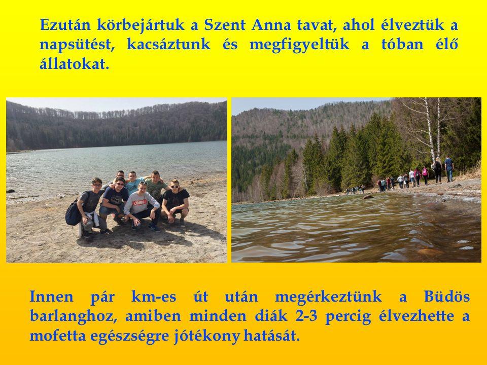 Ezután körbejártuk a Szent Anna tavat, ahol élveztük a napsütést, kacsáztunk és megfigyeltük a tóban élő állatokat.
