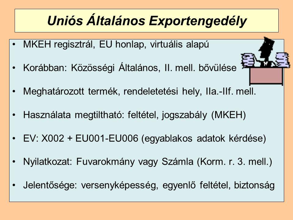 Uniós Általános Exportengedély MKEH regisztrál, EU honlap, virtuális alapú Korábban: Közösségi Általános, II. mell. bővülése Meghatározott termék, ren