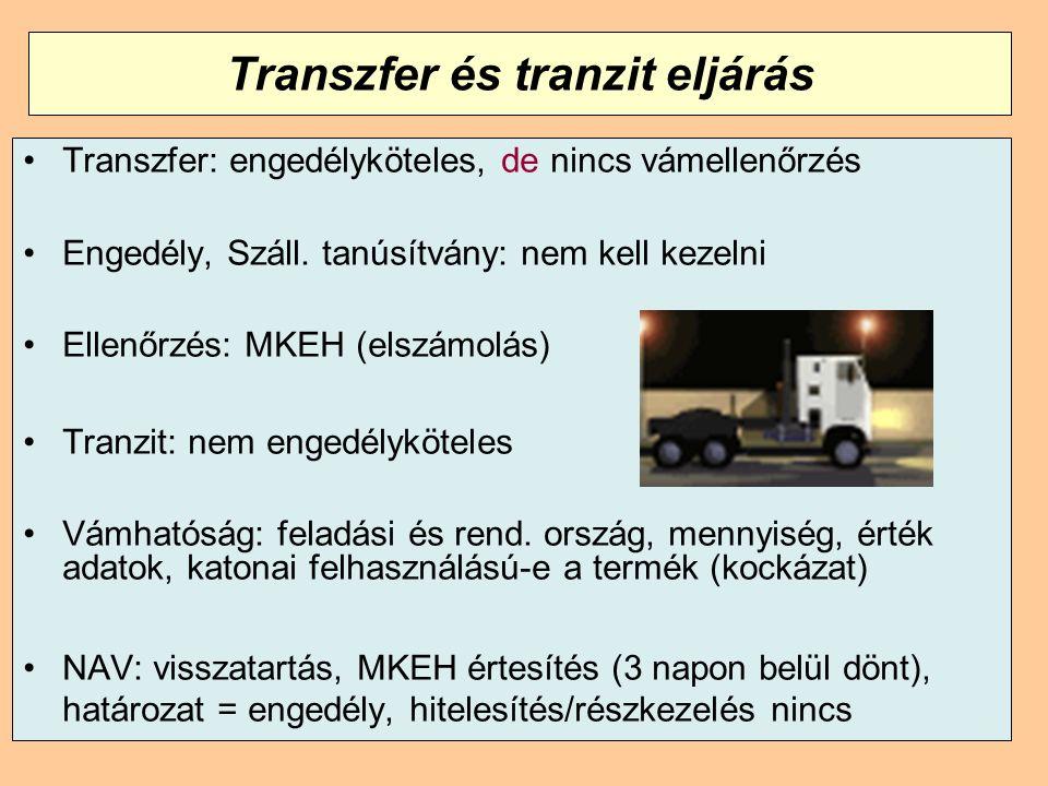 Transzfer és tranzit eljárás Transzfer: engedélyköteles, de nincs vámellenőrzés Engedély, Száll. tanúsítvány: nem kell kezelni Ellenőrzés: MKEH (elszá