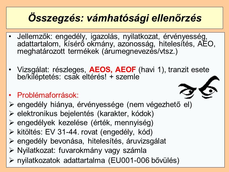 Összegzés: vámhatósági ellenőrzés Jellemzők: engedély, igazolás, nyilatkozat, érvényesség, adattartalom, kísérő okmány, azonosság, hitelesítés, AEO, meghatározott termékek (árumegnevezés/vtsz.) Vizsgálat: részleges, AEOS, AEOF (havi 1), tranzit esete be/kiléptetés: csak eltérés.