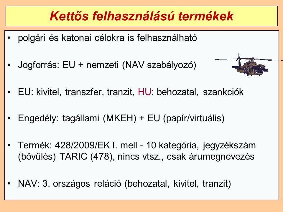 Kettős felhasználású termékek polgári és katonai célokra is felhasználható Jogforrás: EU + nemzeti (NAV szabályozó) EU: kivitel, transzfer, tranzit, HU: behozatal, szankciók Engedély: tagállami (MKEH) + EU (papír/virtuális) Termék: 428/2009/EK I.