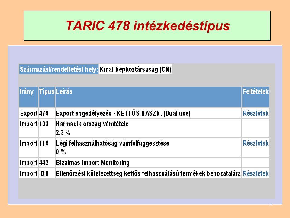 99 TARIC 478 intézkedéstípus