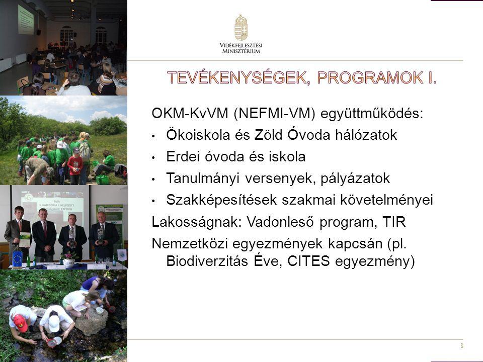 8 OKM-KvVM (NEFMI-VM) együttműködés: Ökoiskola és Zöld Óvoda hálózatok Erdei óvoda és iskola Tanulmányi versenyek, pályázatok Szakképesítések szakmai követelményei Lakosságnak: Vadonleső program, TIR Nemzetközi egyezmények kapcsán (pl.