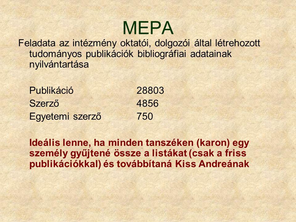 MEPA Feladata az intézmény oktatói, dolgozói által létrehozott tudományos publikációk bibliográfiai adatainak nyilvántartása Publikáció 28803 Szerző48