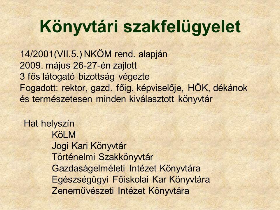 Könyvtári szakfelügyelet 14/2001(VII.5.) NKÖM rend. alapján 2009. május 26-27-én zajlott 3 fős látogató bizottság végezte Fogadott: rektor, gazd. főig