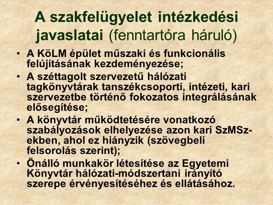 A szakfelügyelet intézkedési javaslatai (fenntartóra háruló) A KöLM épület műszaki és funkcionális felújításának kezdeményezése; A széttagolt szerveze