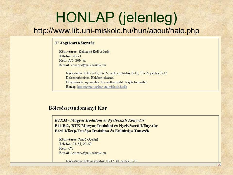 HONLAP (jelenleg) http://www.lib.uni-miskolc.hu/hun/about/halo.php