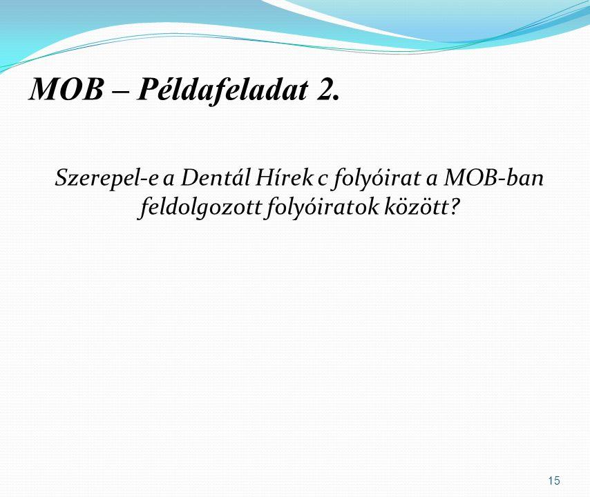Szerepel-e a Dentál Hírek c folyóirat a MOB-ban feldolgozott folyóiratok között.