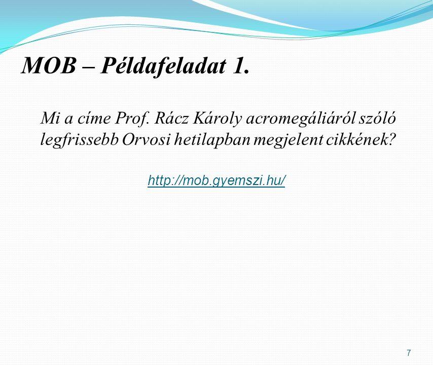 7 MOB – Példafeladat 1. Mi a címe Prof.