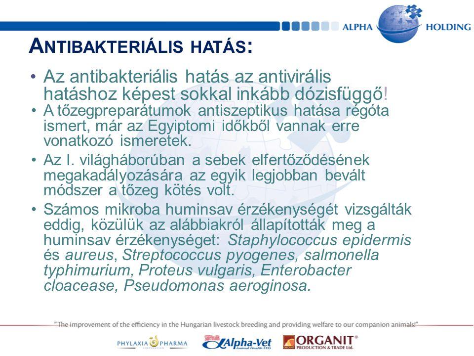 A NTIBAKTERIÁLIS HATÁS : Az antibakteriális hatás az antivirális hatáshoz képest sokkal inkább dózisfüggő! A tőzegpreparátumok antiszeptikus hatása ré