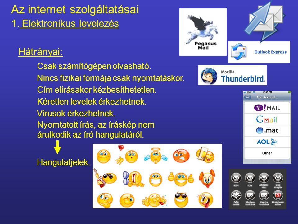 Az internet szolgáltatásai 1. Elektronikus levelezés Gyorsan kézbesíthető. Gyors. Előnyei : Bármikor küldhető. Ahol Internetelérés van, elolvasható. B