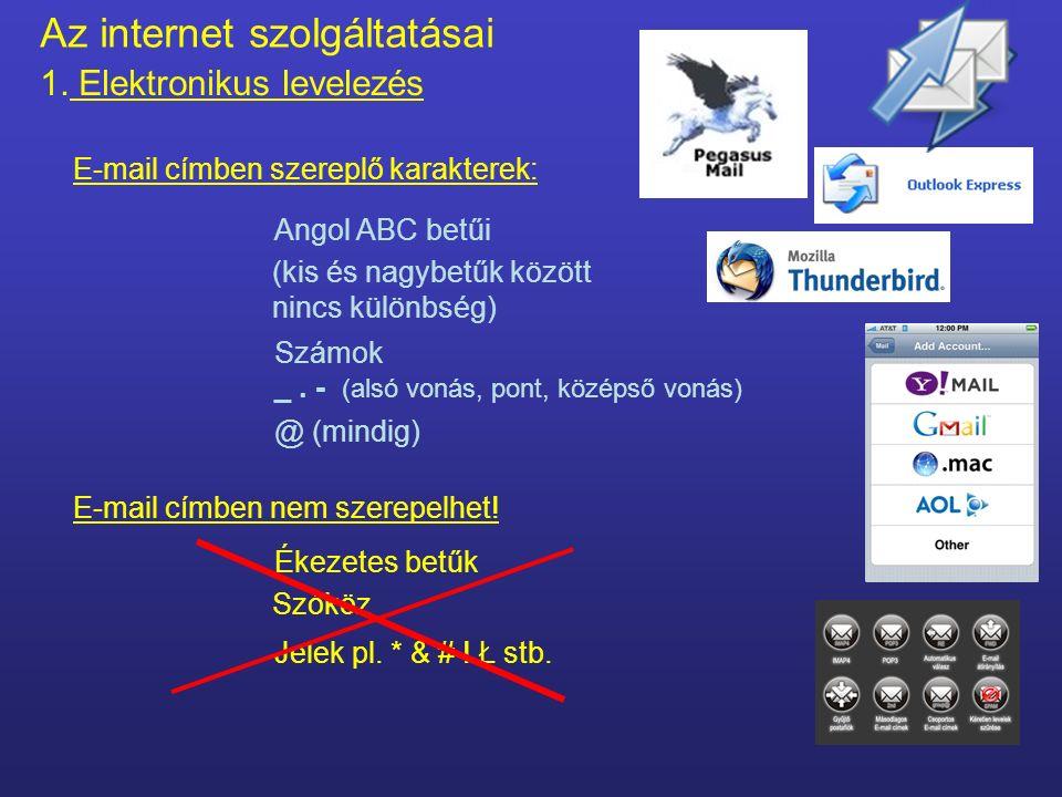 Az internet szolgáltatásai 1. Elektronikus levelezés Tárgyi feltételek - hardver Feltétele: E-mail cím Minden e-mail cím egyedi – nincs két egyforma c