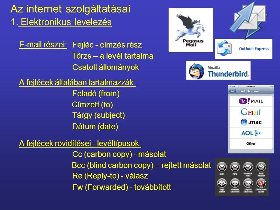 Az internet szolgáltatásai 1. Elektronikus levelezés Angol ABC betűi E-mail címben szereplő karakterek: @ (mindig) Számok (kis és nagybetűk között nin