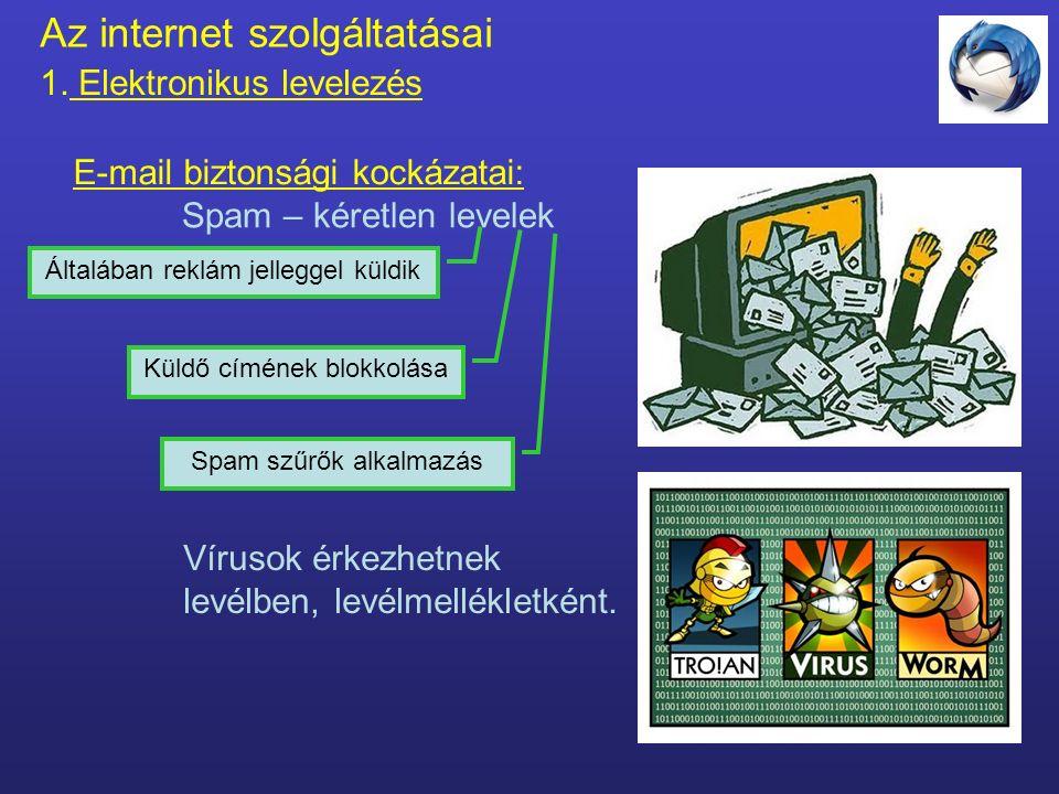 Az internet szolgáltatásai 1. Elektronikus levelezés Fejléc - címzés rész E-mail részei: Csatolt állományok Törzs – a levél tartalma Feladó (from) A f