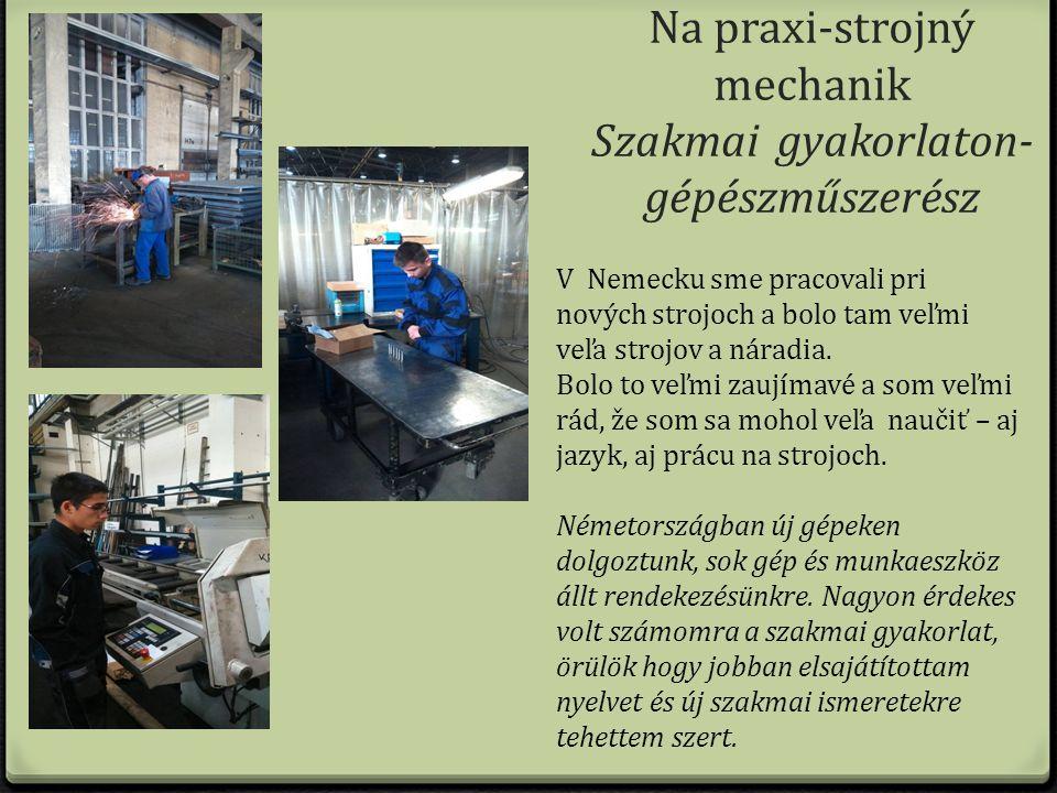 V Nemecku sme pracovali pri nových strojoch a bolo tam veľmi veľa strojov a náradia.