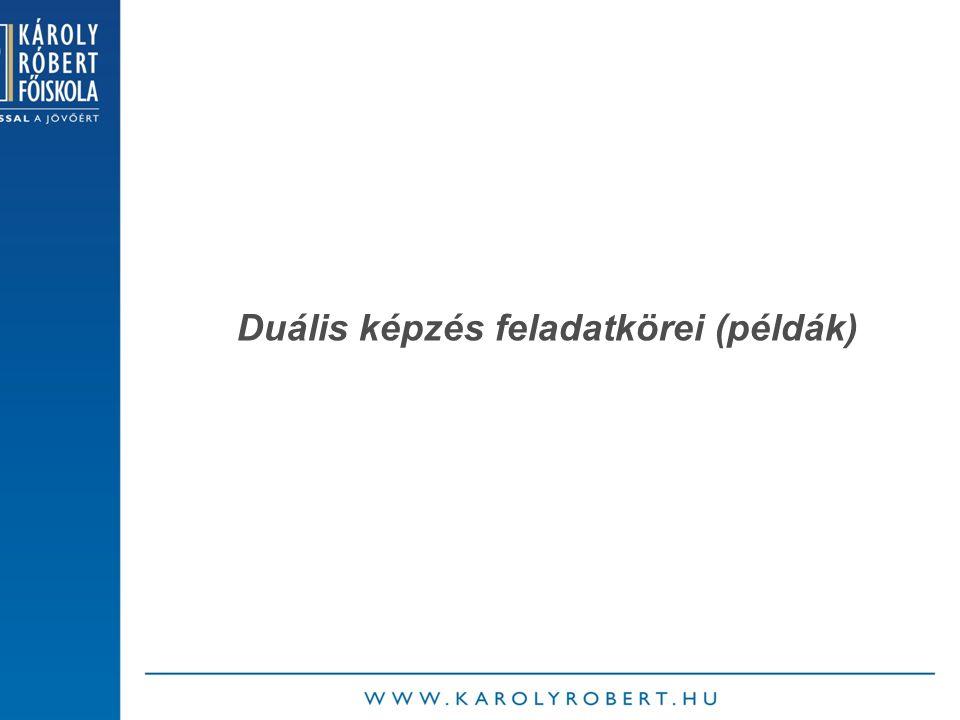 Duális képzés feladatkörei (példák)