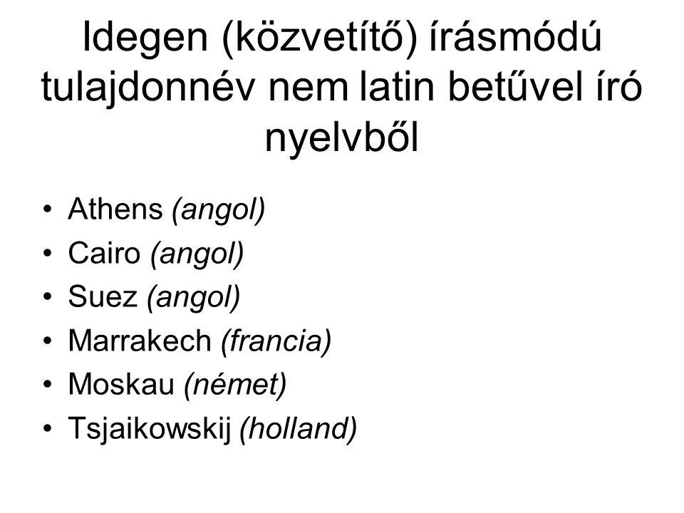 Idegen (közvetítő) írásmódú tulajdonnév nem latin betűvel író nyelvből Athens (angol) Cairo (angol) Suez (angol) Marrakech (francia) Moskau (német) Ts