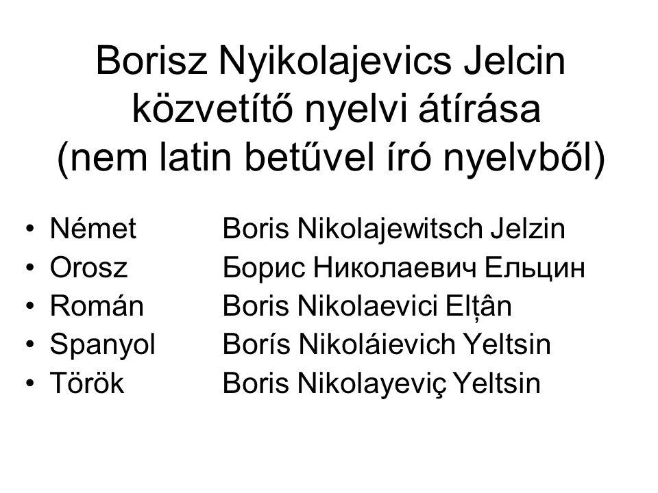 Borisz Nyikolajevics Jelcin közvetítő nyelvi átírása (nem latin betűvel író nyelvből) NémetBoris Nikolajewitsch Jelzin OroszБорис Николаевич Ельцин Ro