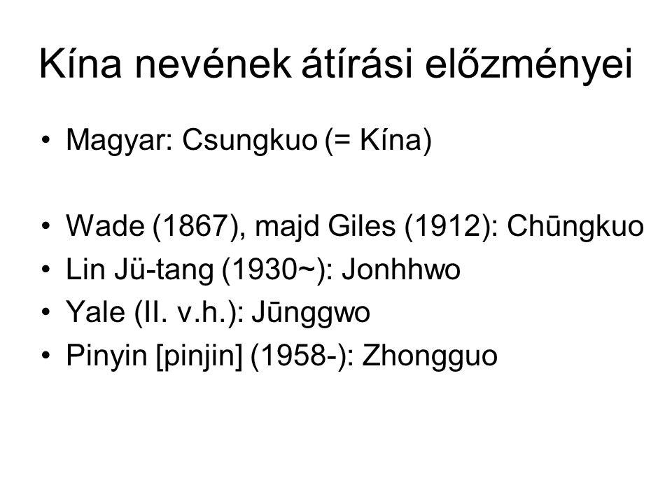 Kína nevének átírási előzményei Magyar: Csungkuo (= Kína) Wade (1867), majd Giles (1912): Chūngkuo Lin Jü-tang (1930~): Jonhhwo Yale (II.