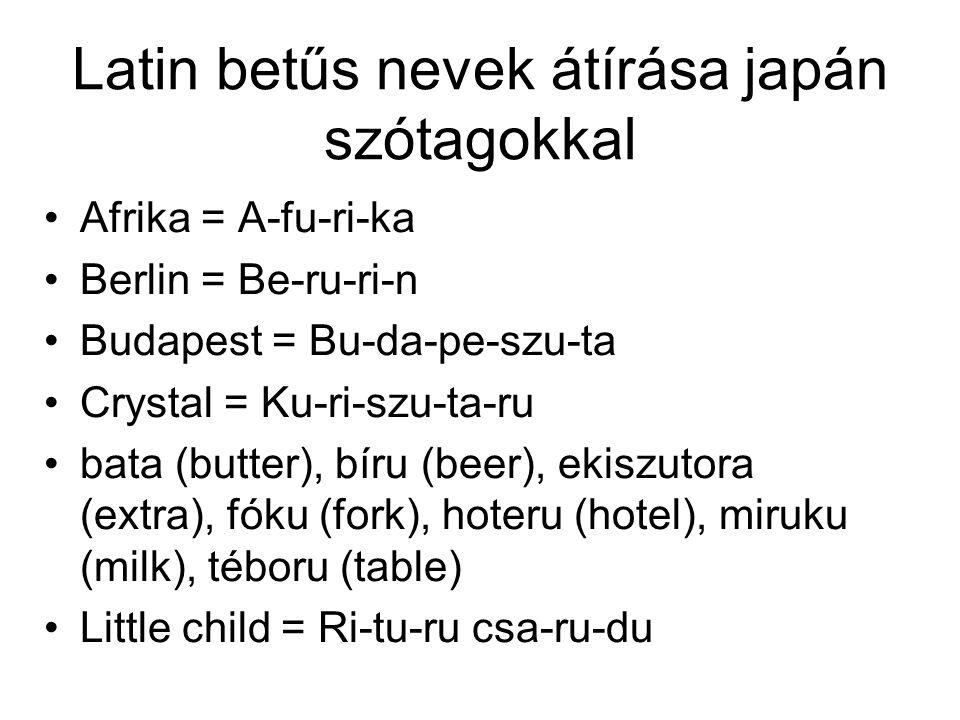 Latin betűs nevek átírása japán szótagokkal Afrika = A-fu-ri-ka Berlin = Be-ru-ri-n Budapest = Bu-da-pe-szu-ta Crystal = Ku-ri-szu-ta-ru bata (butter), bíru (beer), ekiszutora (extra), fóku (fork), hoteru (hotel), miruku (milk), téboru (table) Little child = Ri-tu-ru csa-ru-du