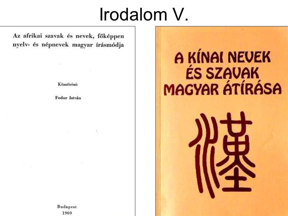 Irodalom V.