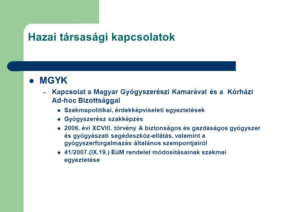 Hazai társasági kapcsolatok MGYK – Kapcsolat a Magyar Gyógyszerészi Kamarával és a Kórházi Ad-hoc Bizottsággal Szakmapolitikai, érdekképviseleti egyeztetések Gyógyszerész szakképzés 2006.