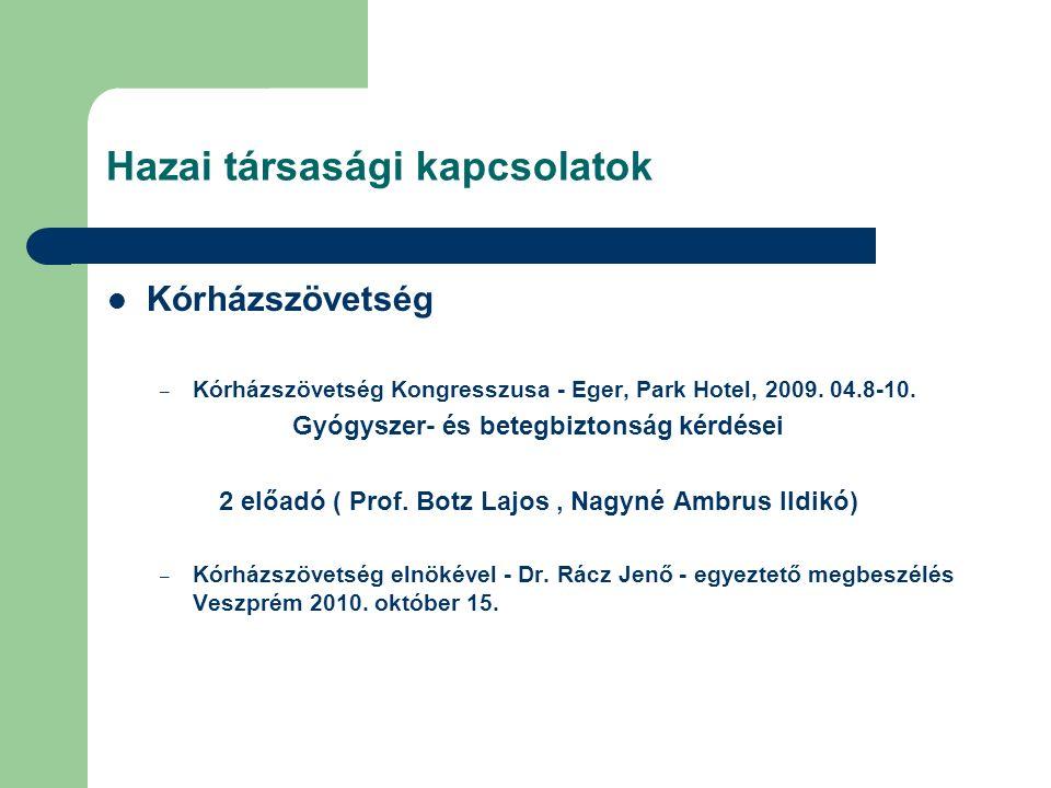 Hazai társasági kapcsolatok Kórházszövetség – Kórházszövetség Kongresszusa - Eger, Park Hotel, 2009.