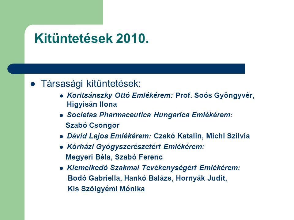 Kitüntetések 2010.Társasági kitüntetések: Koritsánszky Ottó Emlékérem: Prof.