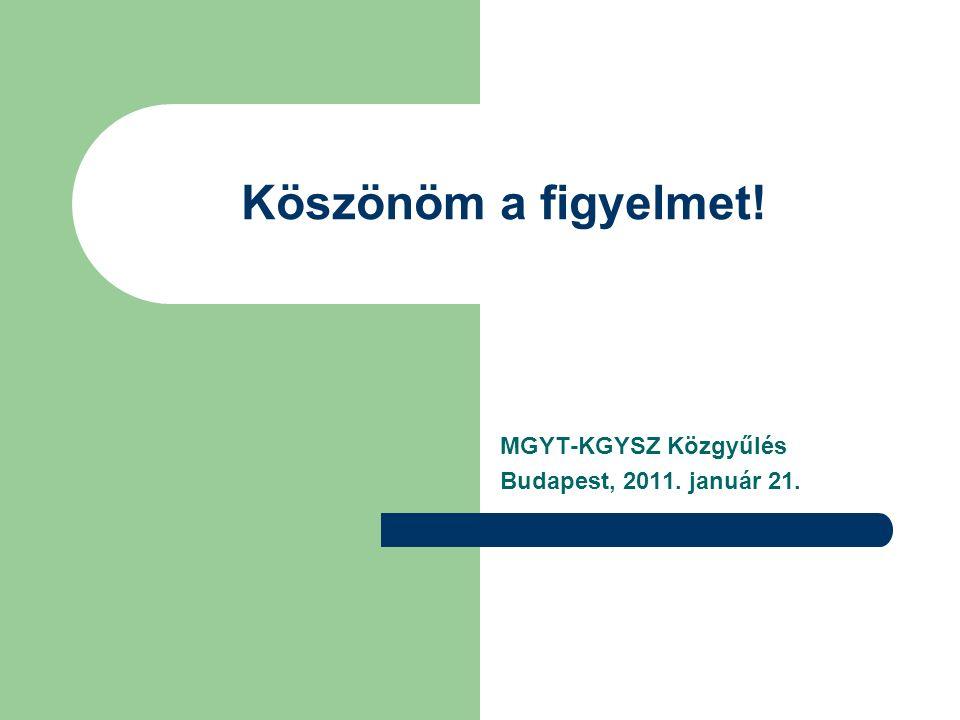 Köszönöm a figyelmet! MGYT-KGYSZ Közgyűlés Budapest, 2011. január 21.