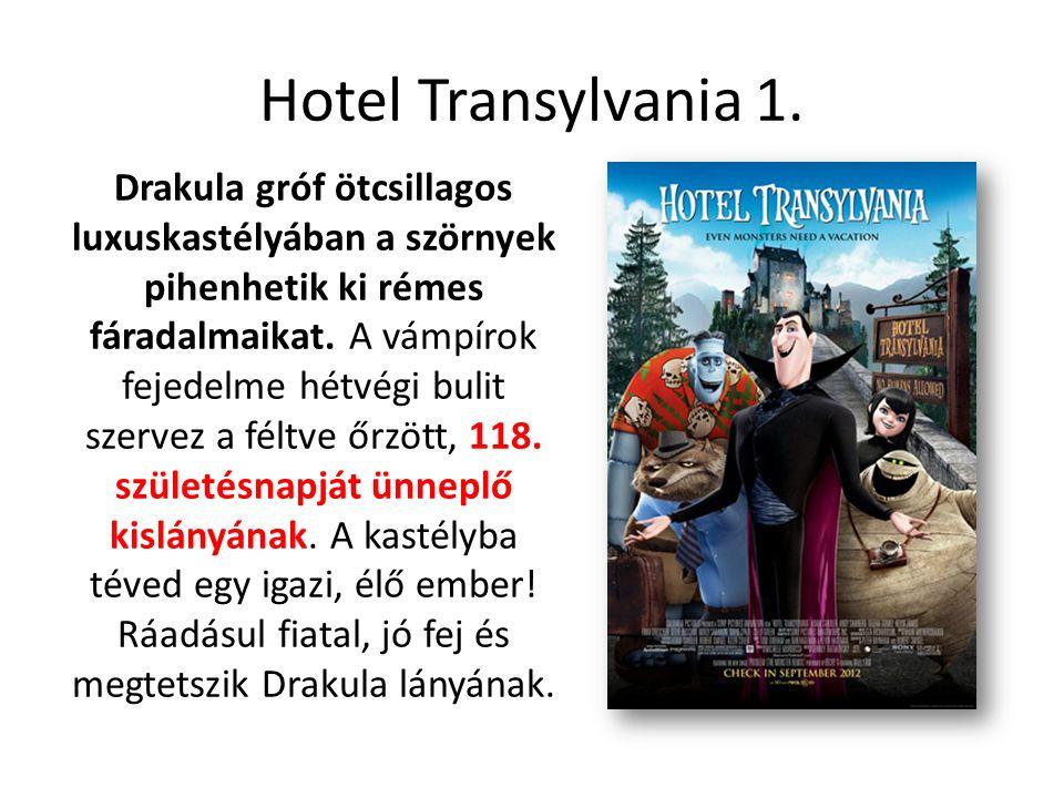 Hotel Transylvania 1. Drakula gróf ötcsillagos luxuskastélyában a szörnyek pihenhetik ki rémes fáradalmaikat. A vámpírok fejedelme hétvégi bulit szerv