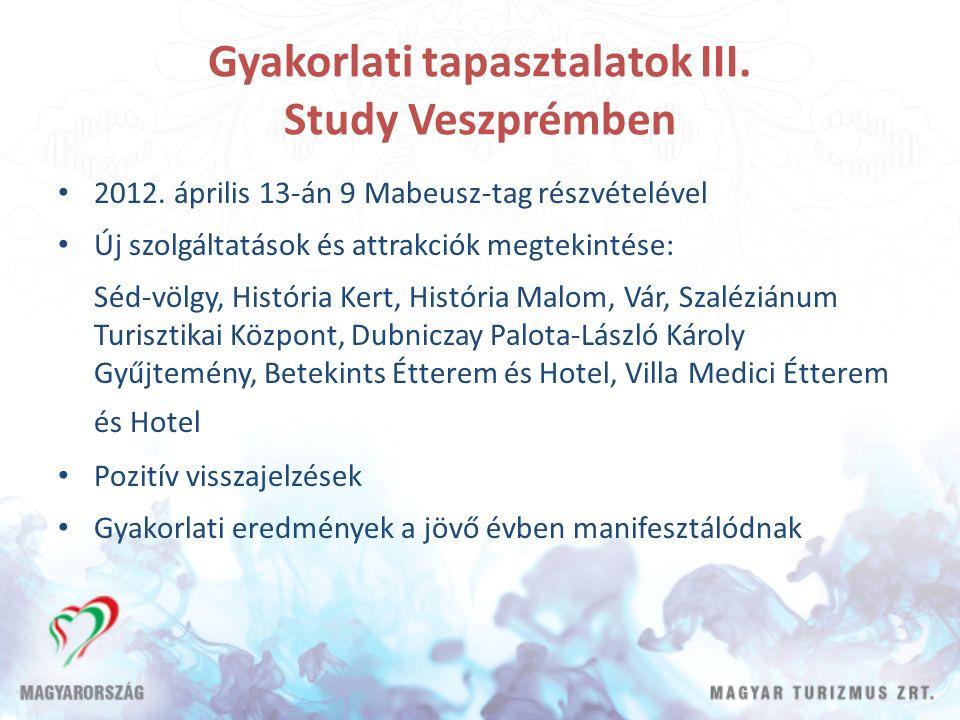 Gyakorlati tapasztalatok III. Study Veszprémben 2012. április 13-án 9 Mabeusz-tag részvételével Új szolgáltatások és attrakciók megtekintése: Séd-völg