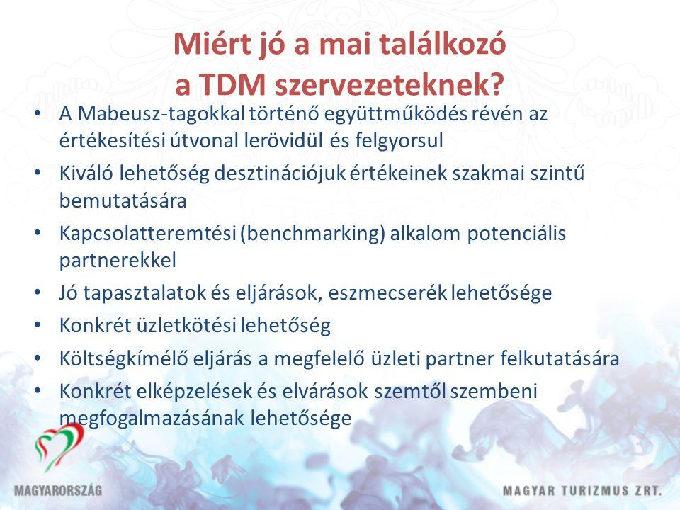Miért jó a mai találkozó a TDM szervezeteknek? A Mabeusz-tagokkal történő együttműködés révén az értékesítési útvonal lerövidül és felgyorsul Kiváló l