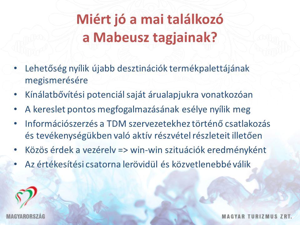 Miért jó a mai találkozó a Mabeusz tagjainak? Lehetőség nyílik újabb desztinációk termékpalettájának megismerésére Kínálatbővítési potenciál saját áru